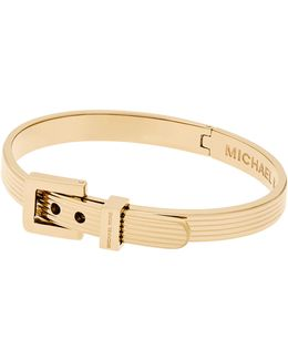 Ribbed Padlock Buckle Bracelet/goldtone