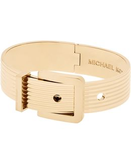 Wide Ribbed Padlock Buckle Bracelet/goldtone
