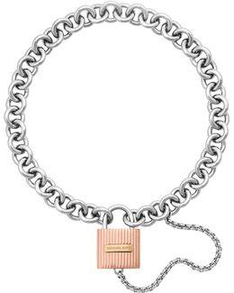 Tri-tone Ribbed Padlock Bracelet