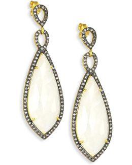 Moonstone & Lab White Topaz Drop Earrings