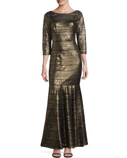 Metallic Trumpet Gown