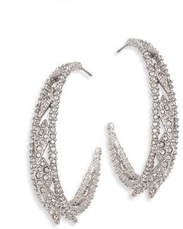 Crystal-encrusted Spiked Lattice Hoop Earrings/1.5