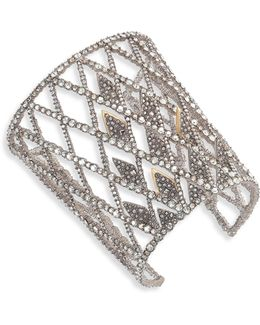 Crystal-encrusted Spiked Lattice Cuff Bracelet