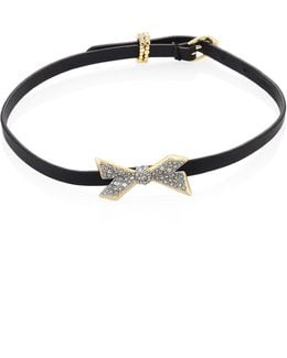Leather & Crystal-encrusted Origami Bow Choker/bracelet