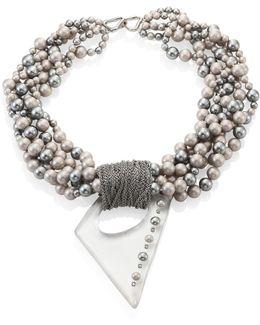 Multi-strand Faux-pearl Pendant Neckacle