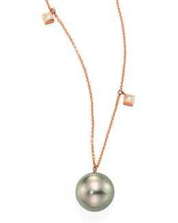 Large 10mm Grey Tahitian Pearl, Diamond & 14k Rose Gold Dangle Necklace