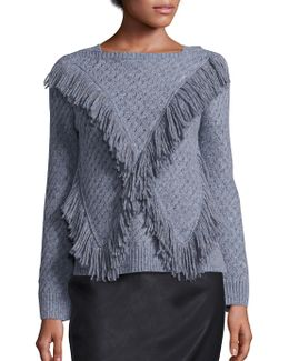Fringed Wool Blend Pullover