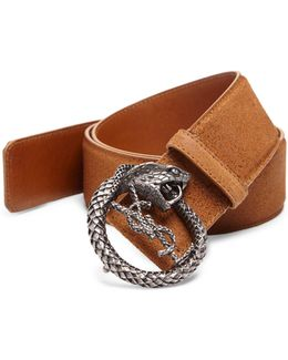 Serpent Buckle Suede Belt