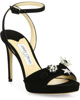 Electra 100 Crystal-button Suede Ankle-strap Sandals