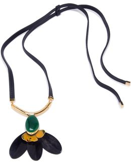 Petal Horn & Leather Pendant Necklace
