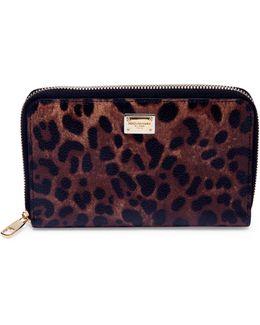 Leopard-print Leather Zip-around Wallet