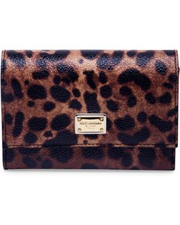 Leopard-print Leather French Flap Wallet