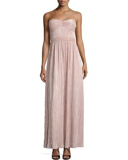 Metallic Pleated Halter Gown