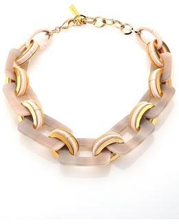 Gradient Finish Square Link Necklace