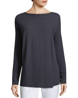 Pintuck Stitch Front Slit Sweater