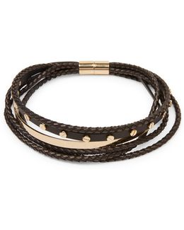 Multi-row Braided Leather Choker