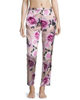 Contrast Back Seam Silk Pajama Pants