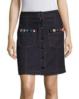 Stud-detail Denim Skirt