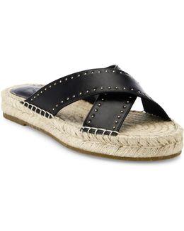 Idalee Studded Kid Nappa Leather Slip-on Slides