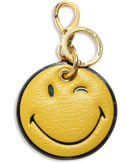 Wink Face Leather Keychain