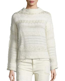 Wool-blend Jacquard Mockneck Sweater