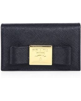 Bow Saffiano Leather Card Wallet