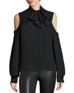 Silk Cold-shoulder Tie-neck Blouse