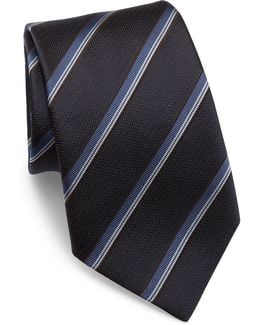 Striped Woven Jacquard Silk Tie