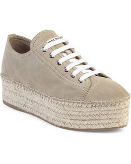 Suede Espadrille Platform Sneakers