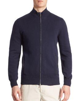 Textured Zippered Sweatshirt