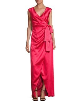 Stretch Satin Faux Wrap Gown