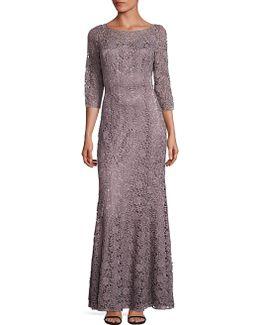 Metallic Lace Mermaid Gown