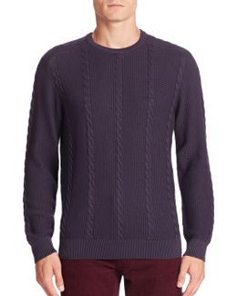 Long Sleeve Cotton Cable Crewneck Sweater