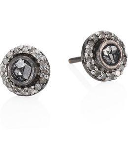 Shlylie Raw Sliced Diamond Stud Earrings