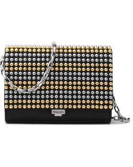 Small Studded Leather Crossbody Clutch