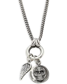 Baroque Sterling Silver Baby Skull Coin & Wing Pendant Necklace