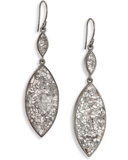 Marquis Raw Sliced Diamonds & Sterling Silver Double-drop Earrings