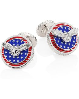 Rotating Flags Rhodium-plated Cufflinks