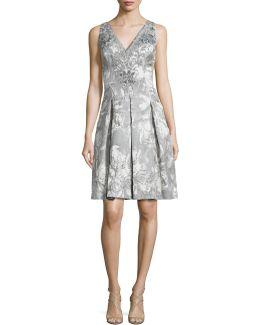 Double V Beaded Brocade Cocktail Dress