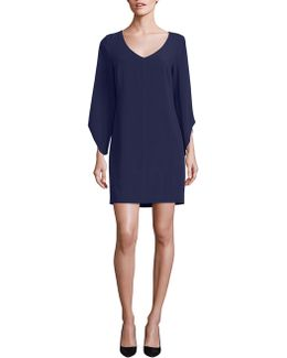 Crepe T-body Tulip Sleeve Dress