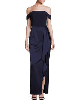 Platinum Off-the-shoulder Satin Gown