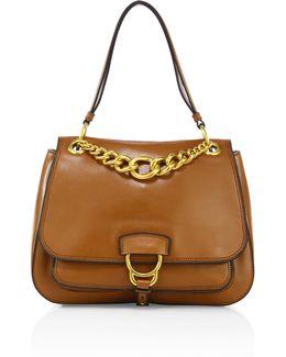 Large Dahlia Madras Leather Saddle Bag