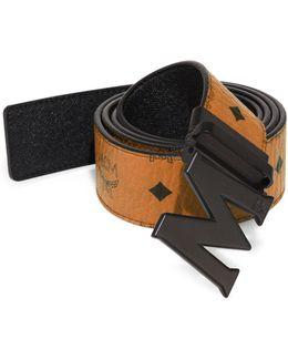 Logo Leather Trimmed Belt