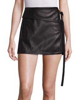 Faux Leather Side Tie Skirt