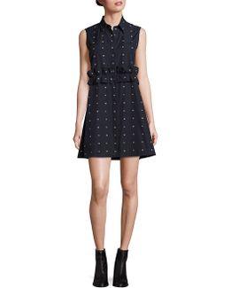 Cotton Ruffle Shirt Dress