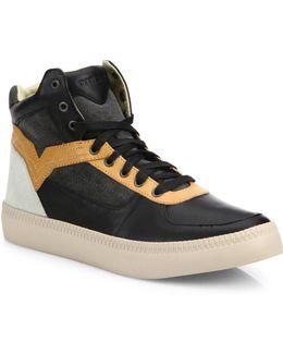Spaark Leather & Suede High-top Sneakers