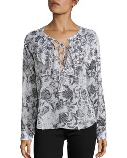 Baroque Print Ruffle Lace-up Top