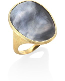 Lunaria Black Mother-of-pearl & 18k Yellow Gold Ring