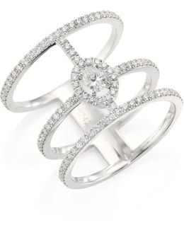 Glam'azone 3-row Diamond & 18k White Gold Ring
