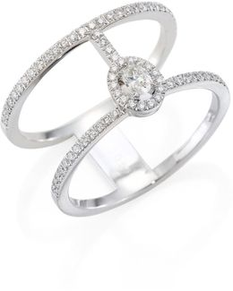 Glam'azone Two-row Pave Diamond & 18k White Gold Ring
